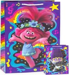 Пакет подарочный, Тролли, Розочка и радужные ноты, Фиолетовый, 31*22*10 см, 1 шт.