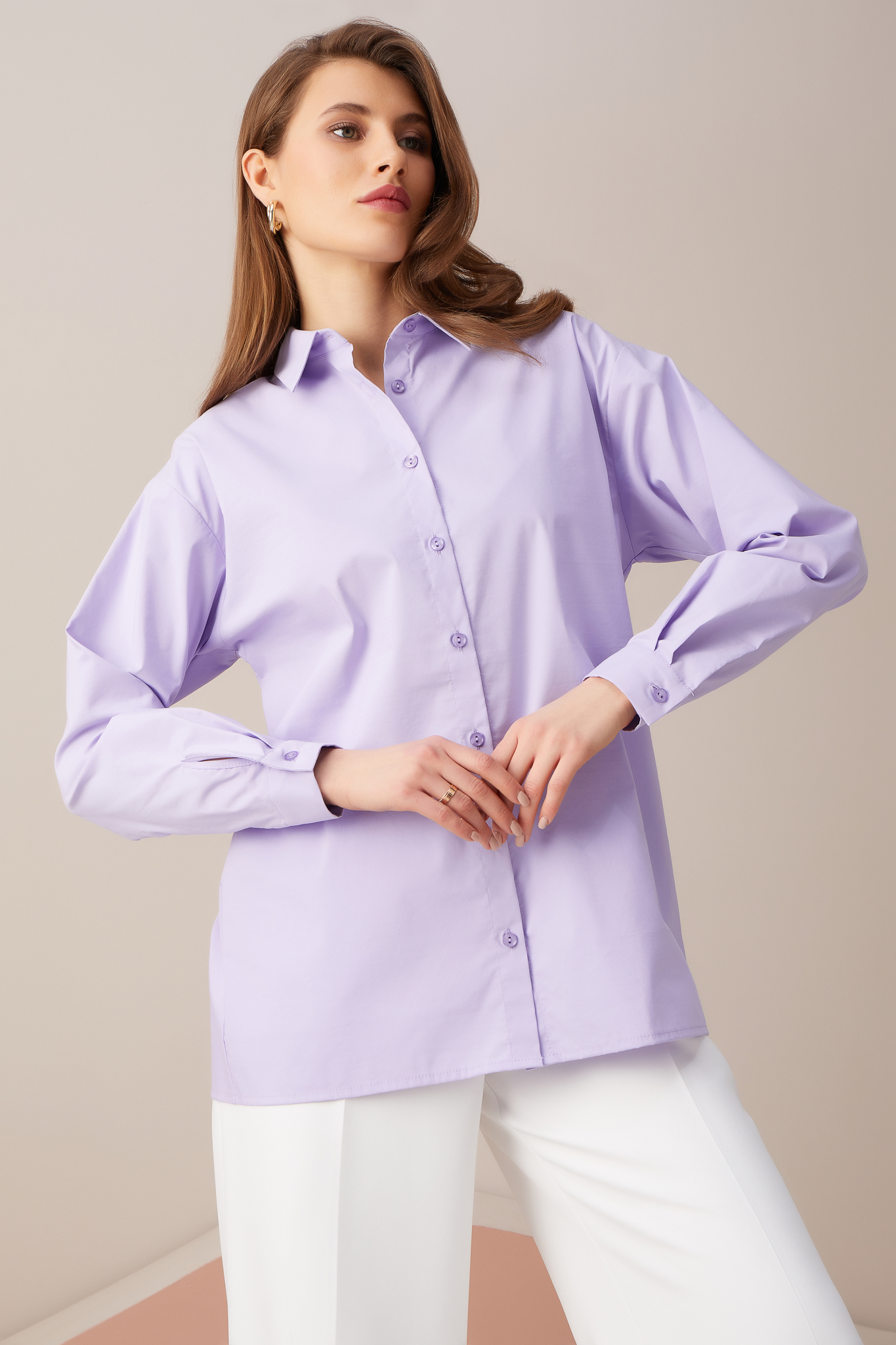 Базовая хлопковая рубашка (сиреневый)