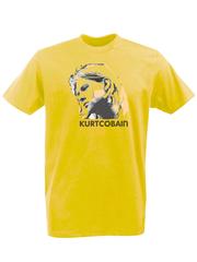 Футболка с принтом Курт Кобейн, Нирвана (Nirvana, Kurt Cobain) желтая 001