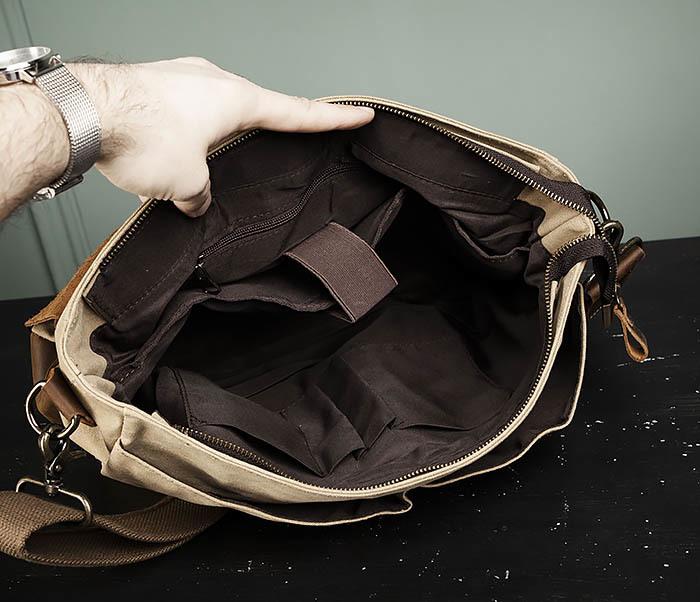 BAG474-3 Легкий мужской портфель из кожи и ткани фото 11