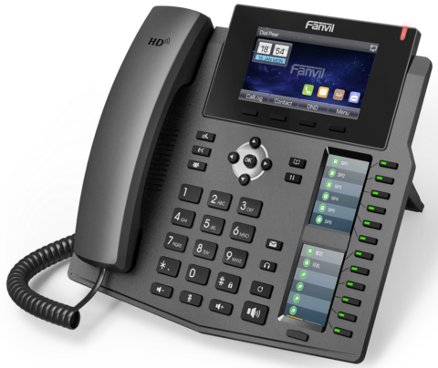 Fanvil X6 - Business SIP Phone (POE) - IP телефон, 20 SIP линий, (1GbE) Gigabit Ethernet, цветной LCD, 12 DSS/BLF, тройной экран, Bluetooth, USB