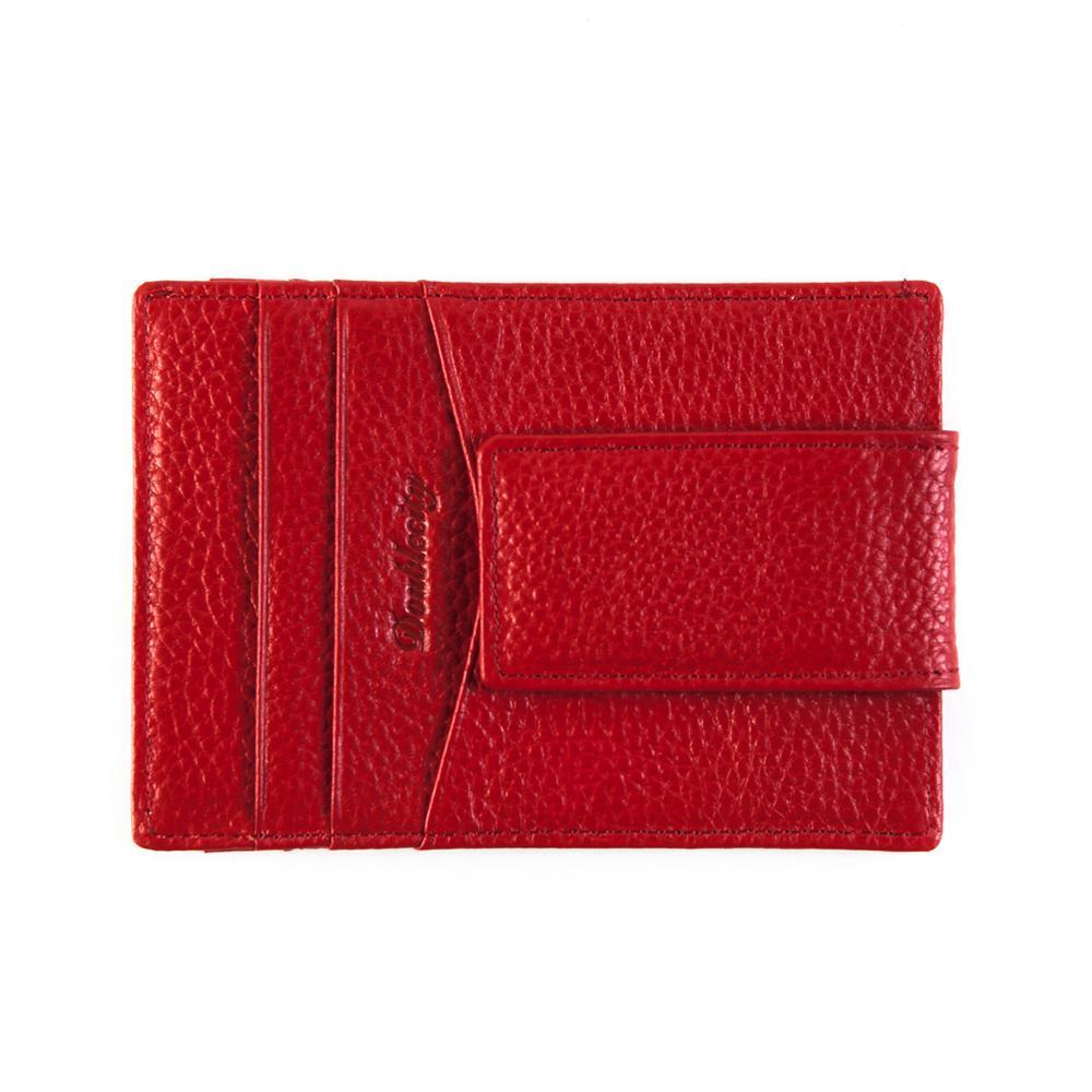 Маленький женский красный кошелёк-карточница (картхолдер) из натуральной кожи DoubleCity 201803-120B