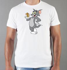 Футболка с принтом мультфильма Tom and Jerry (Том и Джерри), белая 002