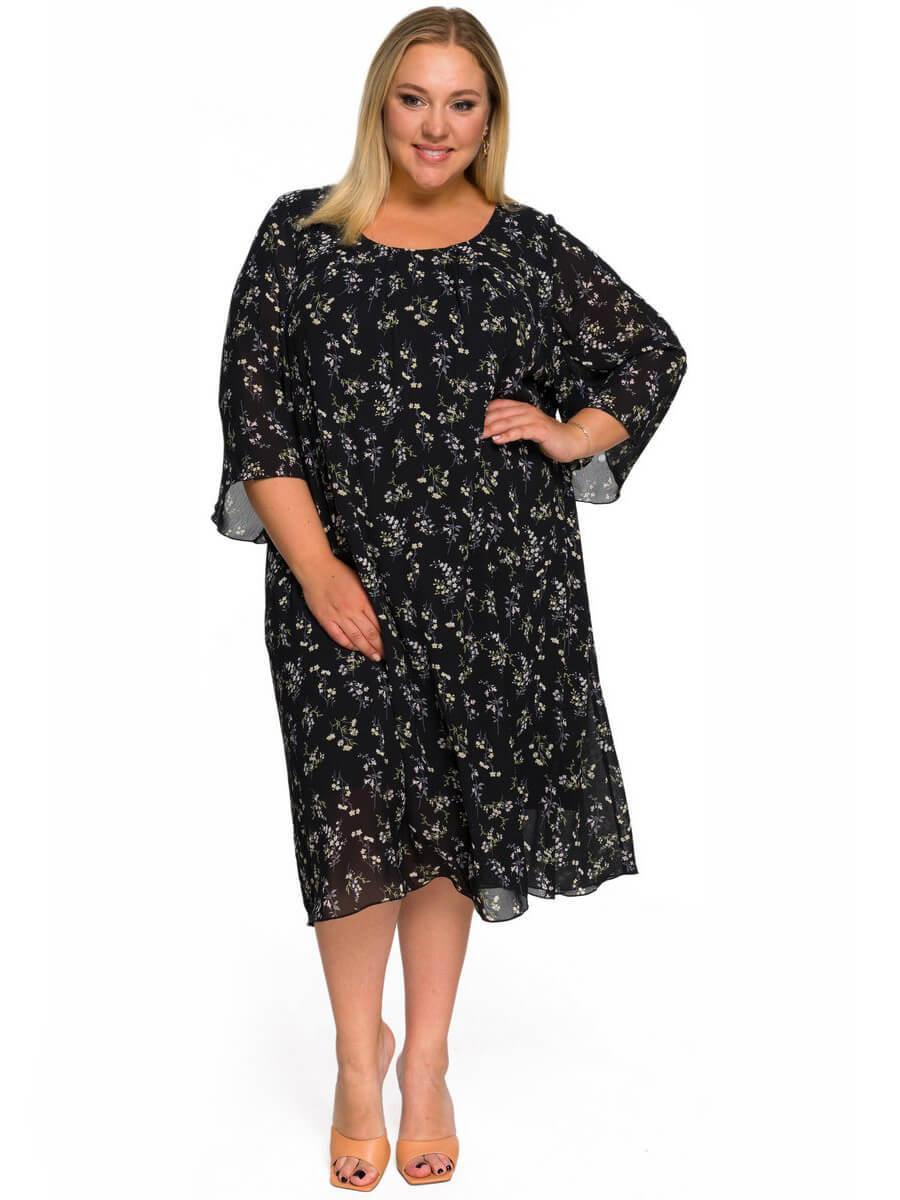 Платье  шифоновое Цветы на чёрном
