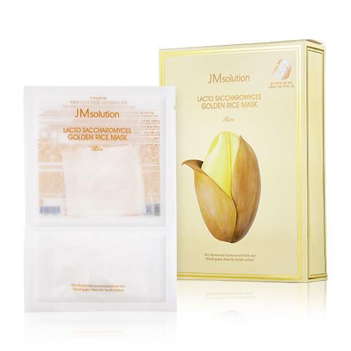 Маска для лица для увлажнения и улучшения тона кожи с лактобактериями, золотом и экстрактом риса JMsolution Lacto Saccharomyces Golden Rice Mask