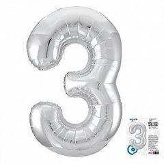 Р Цифра, 3, Slim, Серебро, в упаковке 40''/102 см,  1 шт.