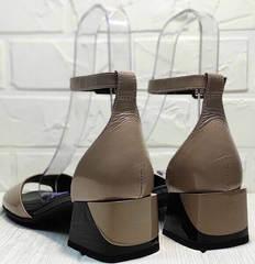 Босоножки кожаные женские. Босоножки на невысоком каблуке Derem 602-464-7674 Beige Black.
