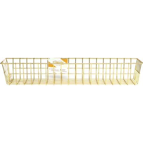 Органайзер металлический -Wire System Metal Storage Bin-Crate Paper -Gold
