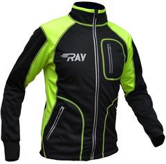 Утеплённая лыжная куртка RAY STAR WS black-lime 2018 лимонный шов