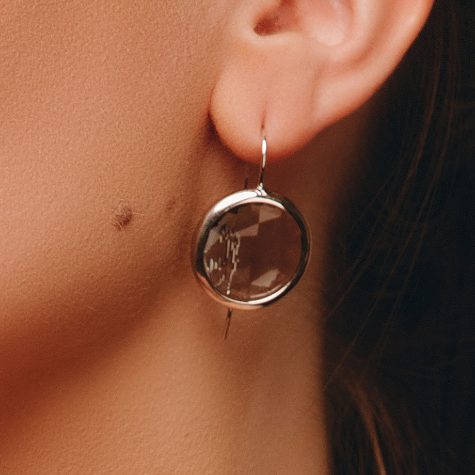 Серьги с круглым кристаллом (серый)
