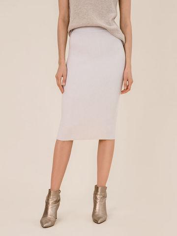 Женская юбка светло-серого цвета из шерсти - фото 4