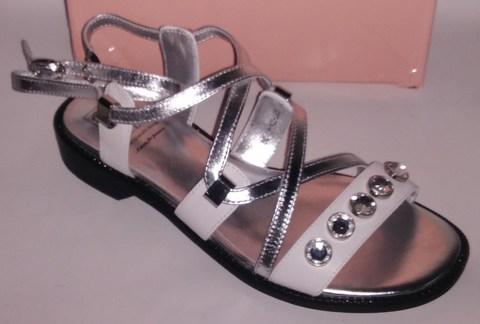 Серебряные сандалии из натуральной кожи в греческом стиле