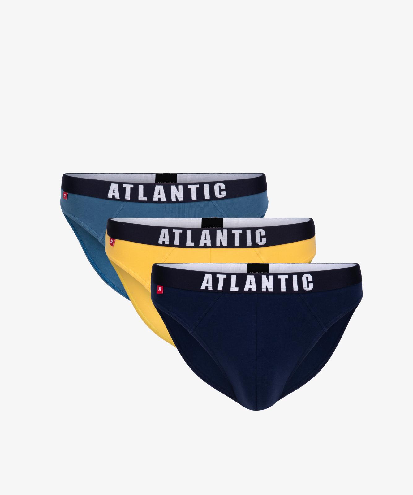 Мужские трусы слипы спорт Atlantic, набор 3 шт., хлопок, деним + желтые + темно-синие, 3MP-094
