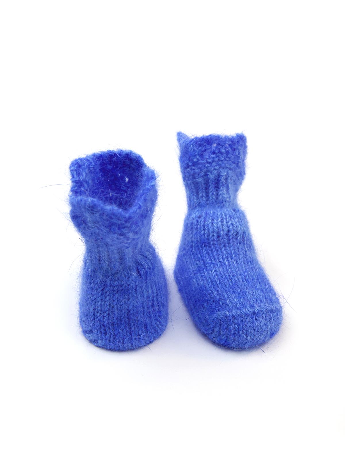 Вязаные детские носочки из ангоры и шерсти голубой