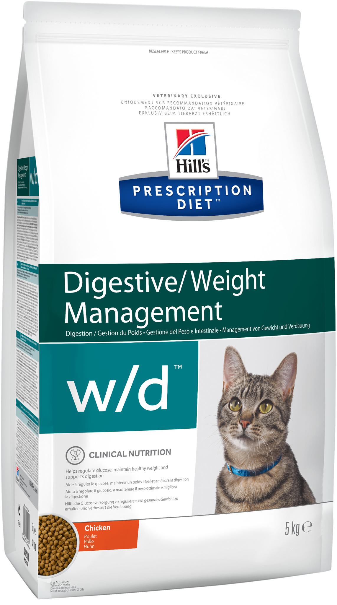 купить хиллс Hill's™ Prescription Diet™ w/d Digestive/Weight Managemen with Chicken сухой корм для взрослых кошек, диетический рацион при сахарном диабете, запорах, колитах 5 кг