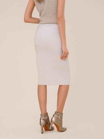 Женская юбка светло-серого цвета из шерсти - фото 3