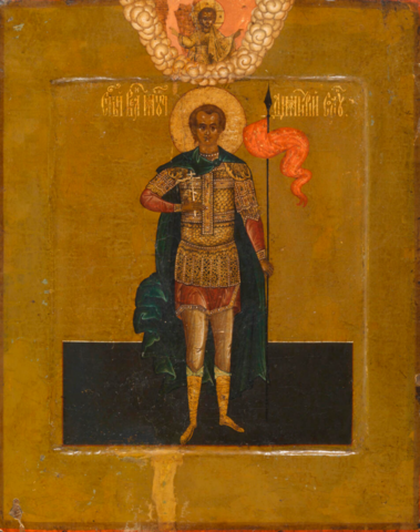 Икона святой Дмитрий Солунский ростовая на дереве на левкасе