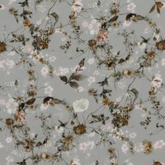 Блузочный крепдешин с тонкими ветвями и россыпью цветов