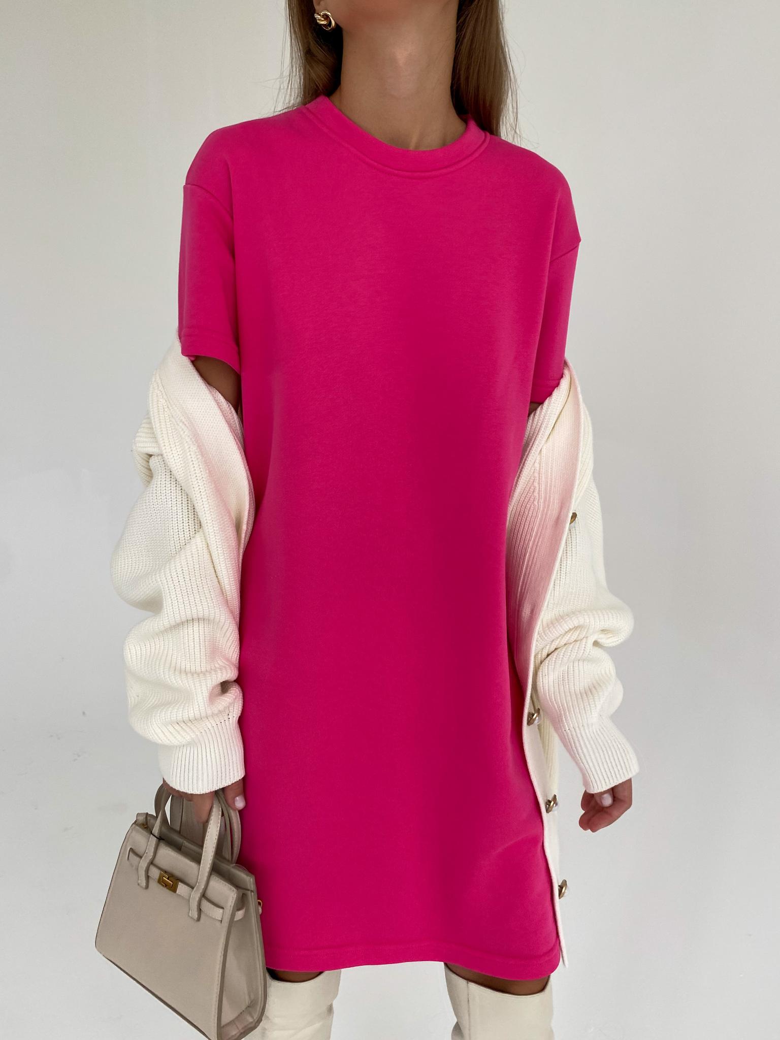Платье-футболка футер (фуксия)