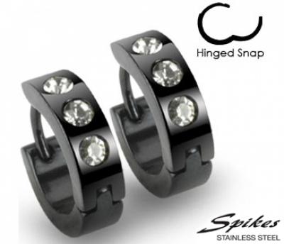 SE2006 Мужские серьги клипсы черного цвета с камнями, сталь, «Spikes»