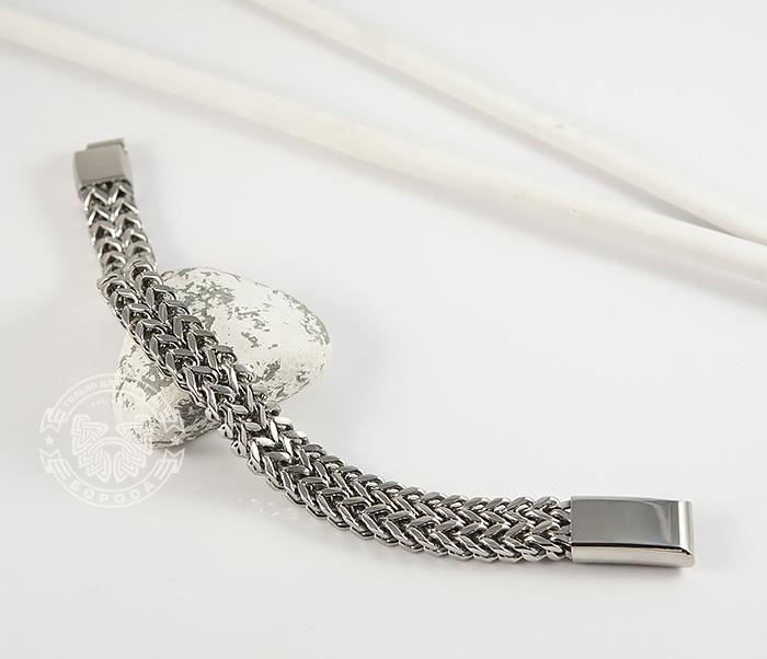 BM376 Массивный мужской браслет цепь необычного плетения (23 см) фото 02