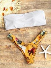 купальник раздельный бандо белый желтый цветочный 1