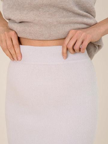 Женская юбка светло-серого цвета из шерсти - фото 5