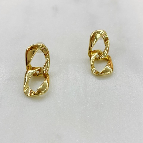 Серьги-подвески из двух звеньев (золотистый)