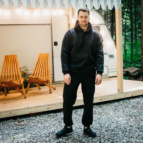 Warm oversized hoodie for men - Black