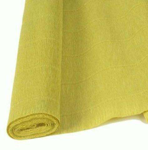 Бумага гофрированная, цвет 579 светло-оливковый, 180г, 50х250 см, Cartotecnica Rossi (Италия)