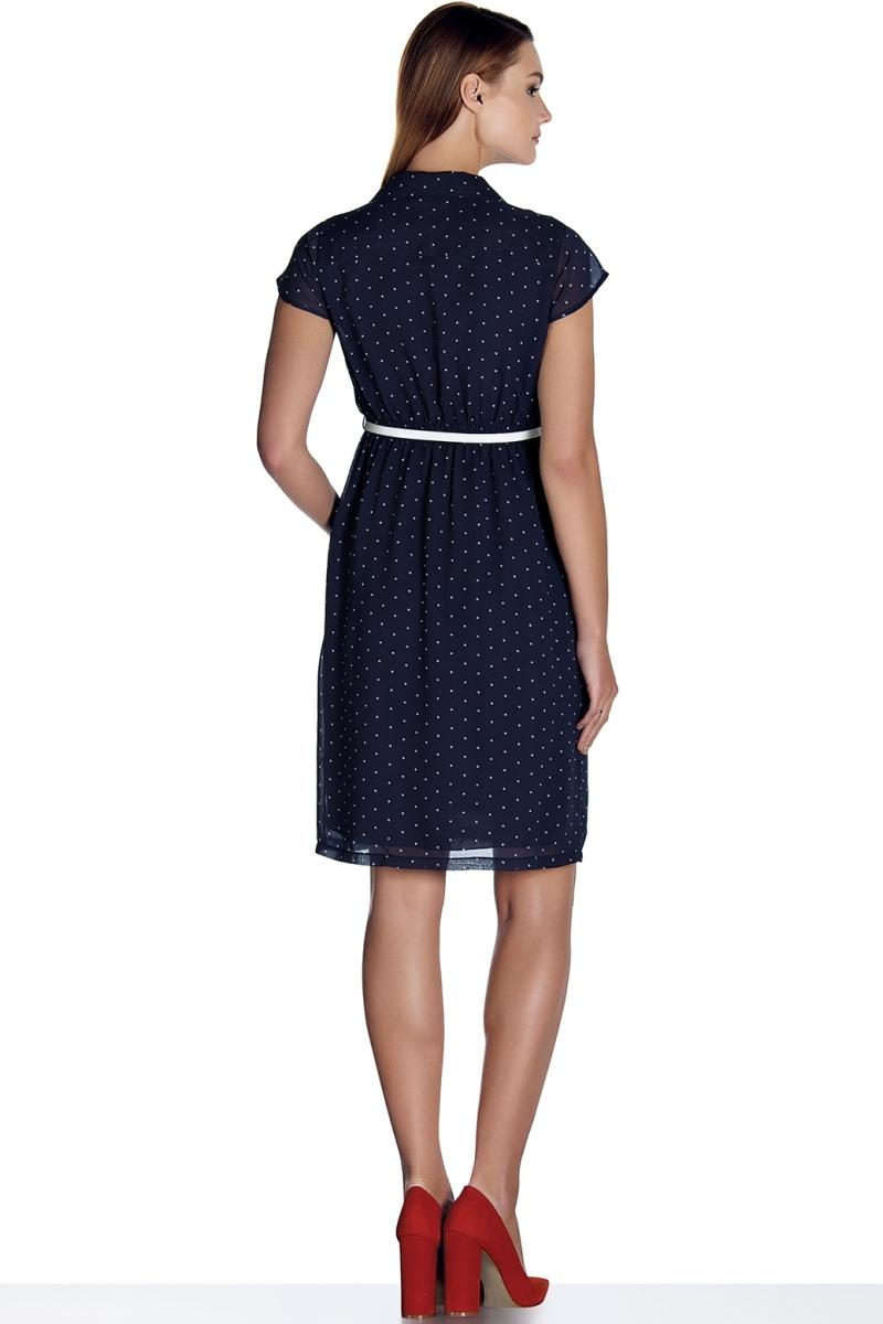Фото платье для беременных EBRU, завышенная талия от магазина СкороМама, синий, в горошек, размеры.