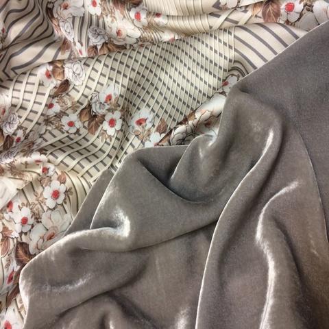 Ткань бархат платина шелковый 3075