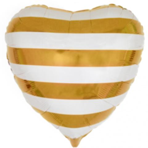 Сердце, Золотые полосы, 18''/46 см, CTI, 1 шт.