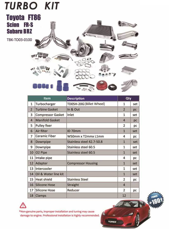Комплектация турбокита Subaru GT86