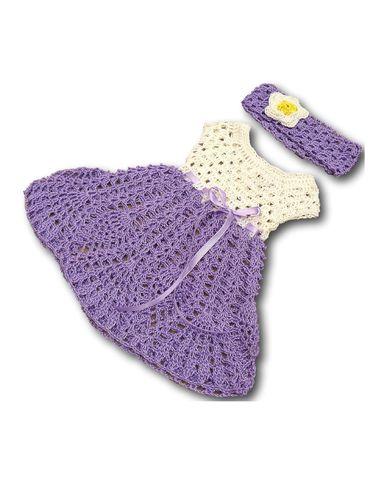 Вязаное платье - Сиреневый. Одежда для кукол, пупсов и мягких игрушек.