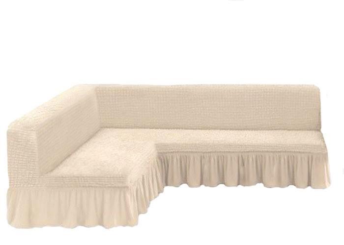 Чехол на угловой диван без подлокотников, молочный