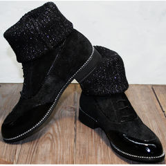 Замшевые ботинки женские без каблука Kluchini 5161 k255 Black