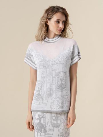 Женская футболка молочного цвета  с принтом и контрастными вставками - фото 1