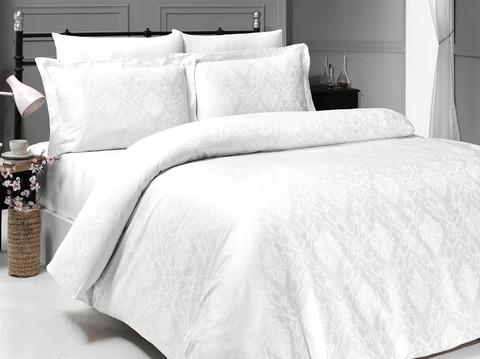 Комплект постельного белья DO&CO Сатин  жаккард DEDRIA 2 спальный (Евро) цвет белый
