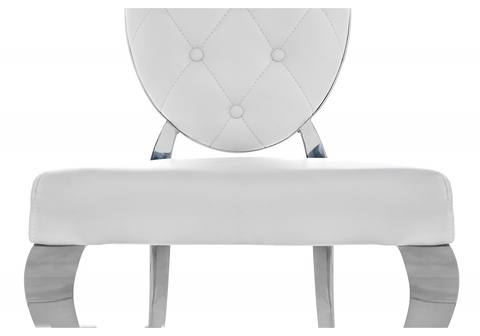 Стул кухонный, обеденный, для гостиной, металлический Odda белый 50,5*50,5*91 Хромированный металл /Белый