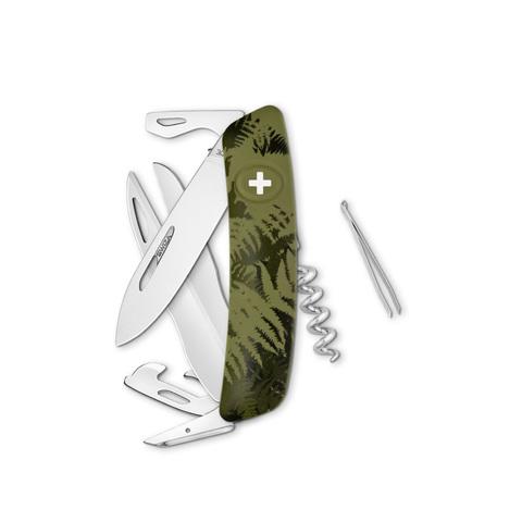 Швейцарский нож SWIZA D07 Camouflage, 95 мм, 12 функций, камо зеленый