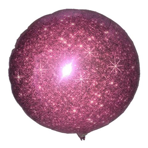 Шар-круг Ярко-розовый блестящий, 45 см