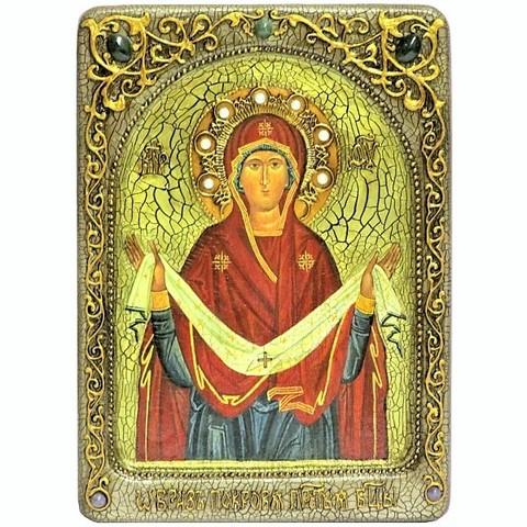 Инкрустированная живописная икона Образ Божией Матери