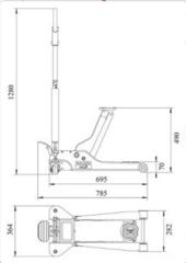 Схема. Подкатной домкрат, г/п 2т, BAHCO BH12000