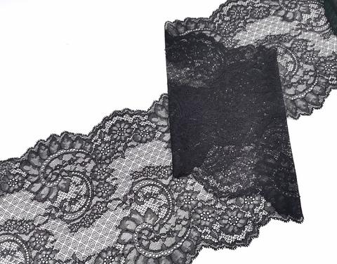 Эластичное кружево, ОПТ, 23 см, черное, м, (Арт: EK-2271), м