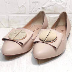 Лодочки туфли женские на низком ходу Wollen G192-878-322 Light Pink.