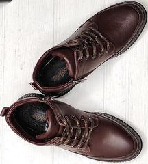 Коричневые ботинки женские натуральная кожа Evromoda 535-2010 S.A. Dark Brown.