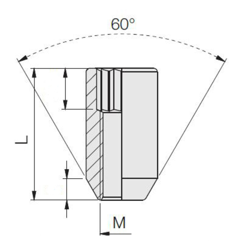 Гайка колёсная М12x1.5 длина=32мм внутренний 10-гранник конус хром