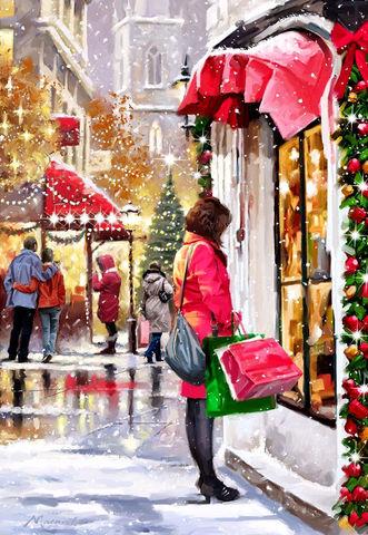 Алмазная Мозаика 40x50 Новогодний город