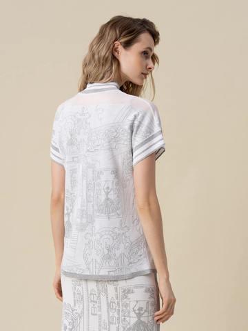 Женская футболка молочного цвета  с принтом и контрастными вставками - фото 2